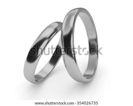 Illustration of two wedding gold rings lie on each other - stock photo