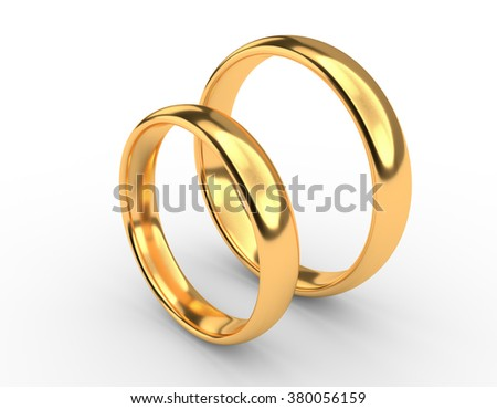 Illustration of two wedding gold rings stand near each other - stock photo
