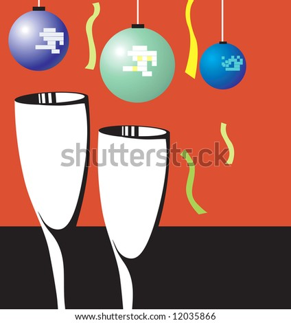 Illustration of two wine glasses with balloons and ribbon