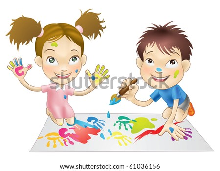 illustration of two young children playing with paints - stock photo