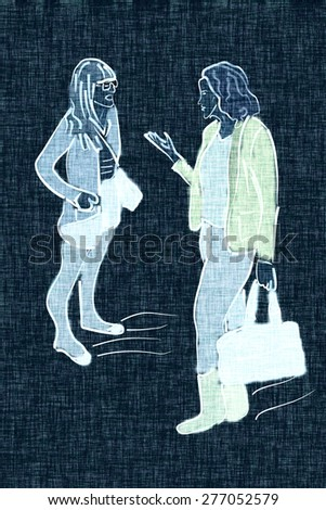 Illustration of two young modern fashionable women talking and shopping. Two trendy girlfriends gossiping. Fashion illustration. Blue fabric - stock photo