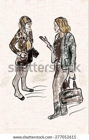 Illustration of two young modern fashionable women talking and shopping. Two trendy girlfriends gossiping. Fashion illustration. Canvas, fabric - stock photo