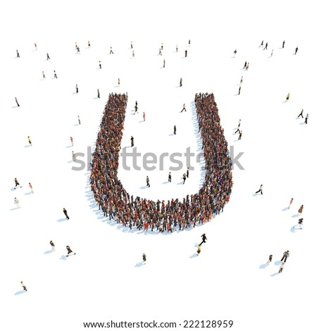 illustration of U letter with people - stock photo