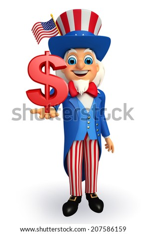 Illustration of uncle sam with dollar sign - stock photo