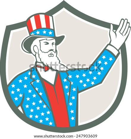 Illustration of Uncle Sam with hand up with stars and stripes American flag design on his hat and clothes set inside shield crest on isolated background done in retro style.  - stock photo