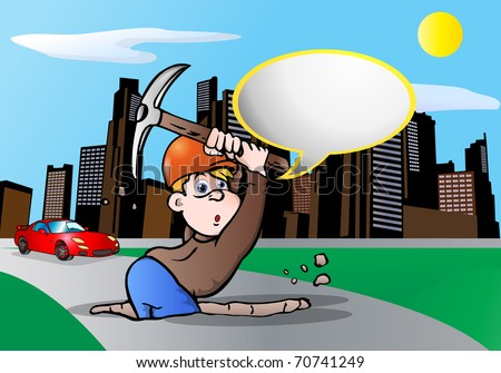 illustration of under construction digger worker  talk in a blank bubble text over city background - stock photo