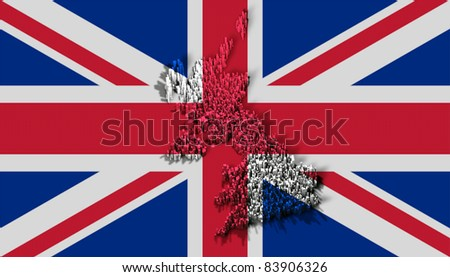 Illustration of united kingdom of great britain with flag