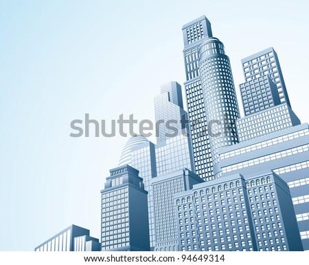 Illustration of urban skyscraper skyline of office blocks - stock photo