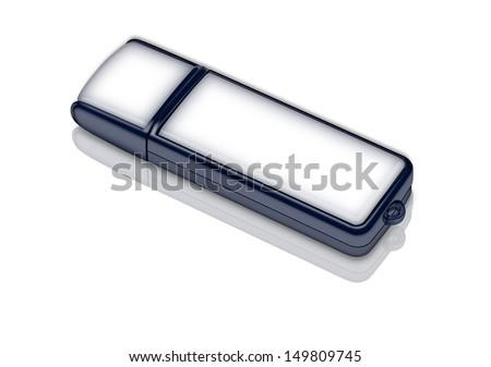 illustration of usb memory drive lying on the white background - stock photo