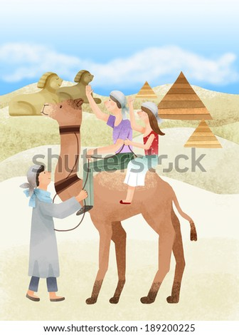 Illustration of vacation in Egypt