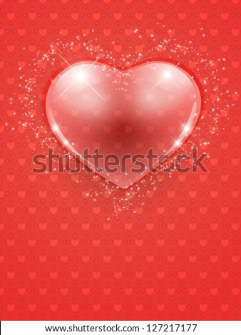 Illustration of Valentine's Day card with abstract glass heart.