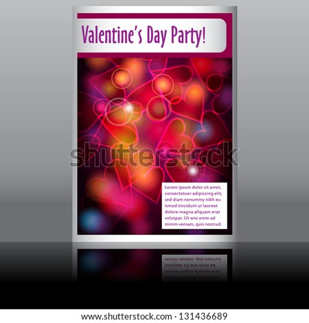 Illustration of Valentine's Day flyer with glittering rainbow lights - stock photo