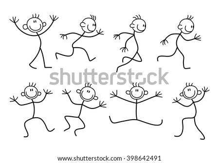 illustration of  variety basic stick man concept on isolated white background - stock photo