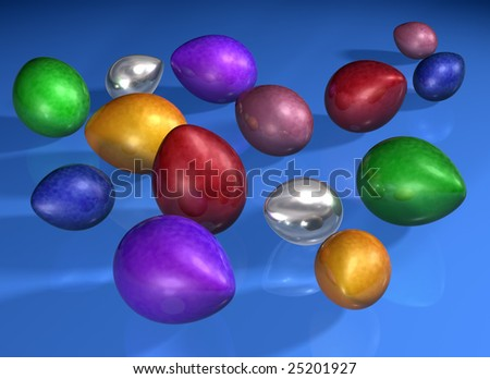 Illustration of various brightly colored shiny eggs
