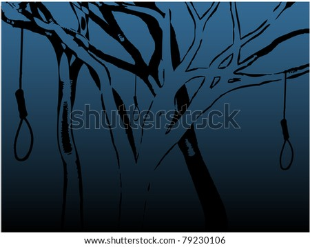 Illustration of various creepy trees with empty nooses halloween background