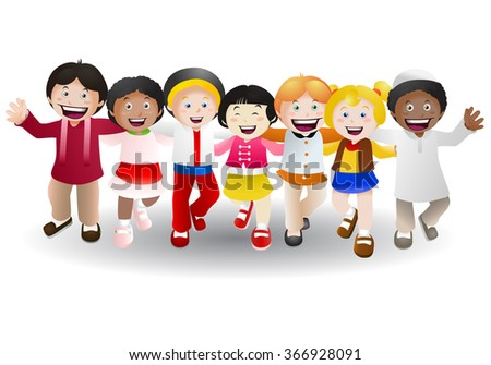 illustration of  various culture children happy on isolated white background - stock photo