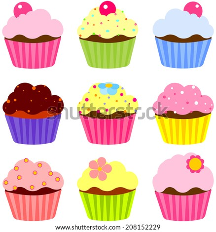 Illustration of various cute cupcakes  - stock photo