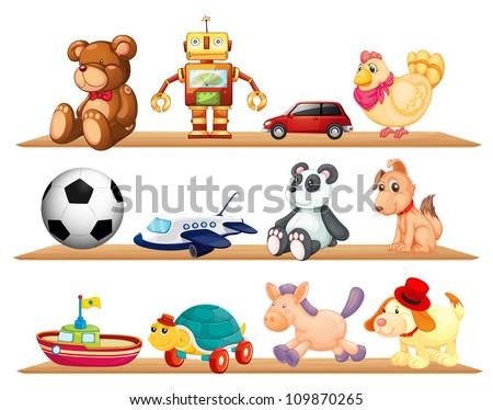 illustration of various toys on a white background - stock photo