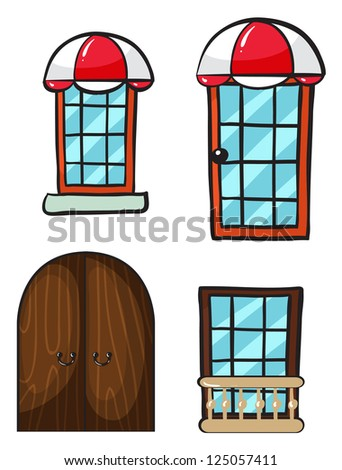 Illustration of various windows and doors on a white background - stock photo
