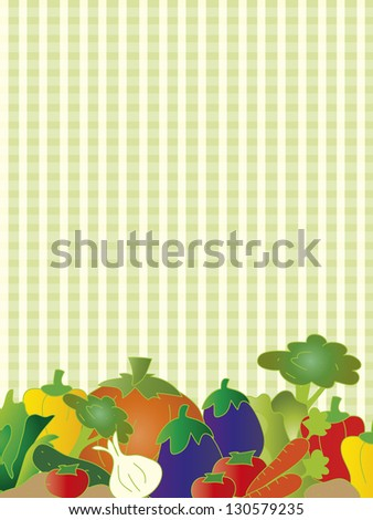 illustration of vegetarian card with fruits and vegetables - stock photo