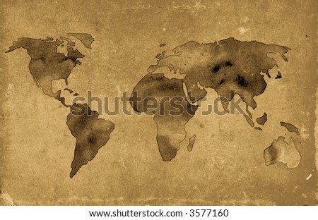illustration of vintage world map over grunge background