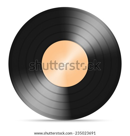 illustration of  vinyl  gramophone record with warm color paper label isolated