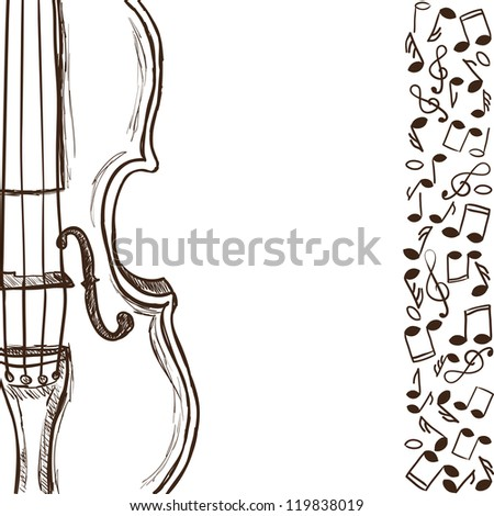 Illustration of violin or bass and music notes - hand drawn style - stock photo
