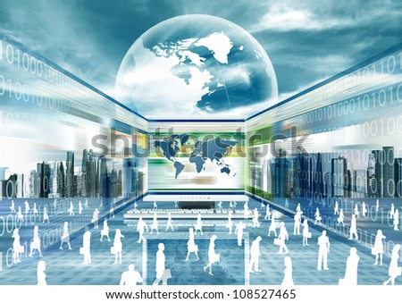 Illustration of virtual businessman doing business in virtual world - stock photo