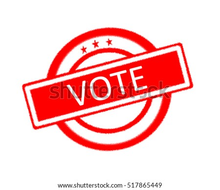 Illustration of vote written on red rubber stamp