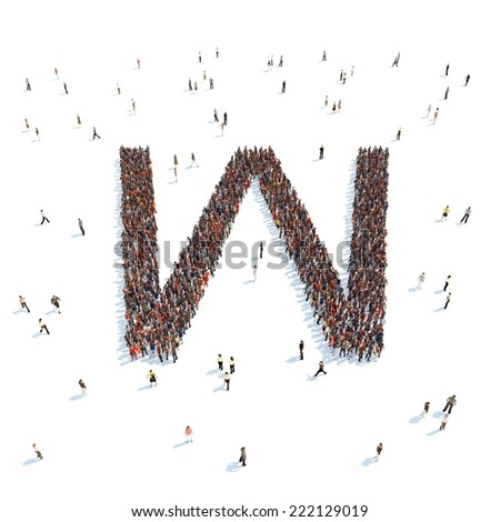 illustration of W letter with people - stock photo