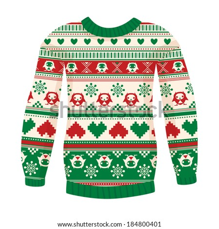 Illustration of warm sweater with owls and hearts. Raster version. Red-Green. May be used for winter design, cards, posters and many other. - stock photo