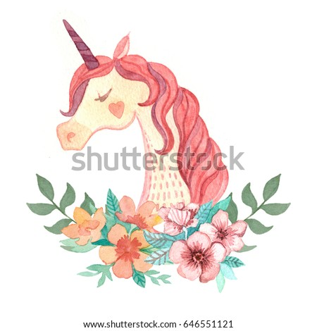 Illustration of watercolor with unicorn and flowers beautiful mane pink horse head