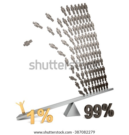Illustration of wealth inequality - stock photo
