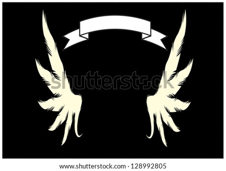 Illustration of white banner with white angel wings on a black background - stock photo