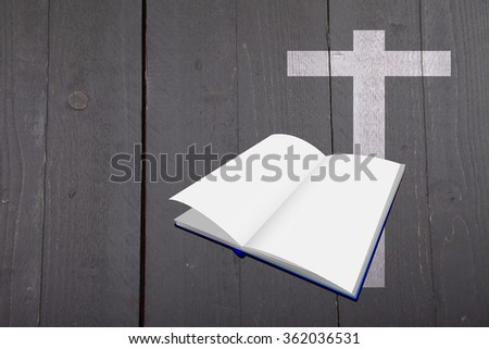 Illustration of white bible and cross on dark black wooden background - stock photo