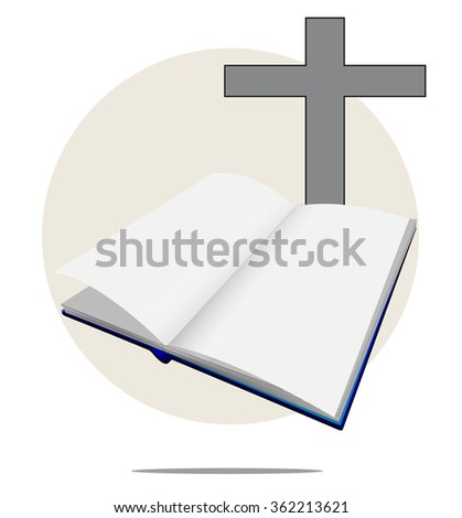 Illustration of white bible with cross - stock photo