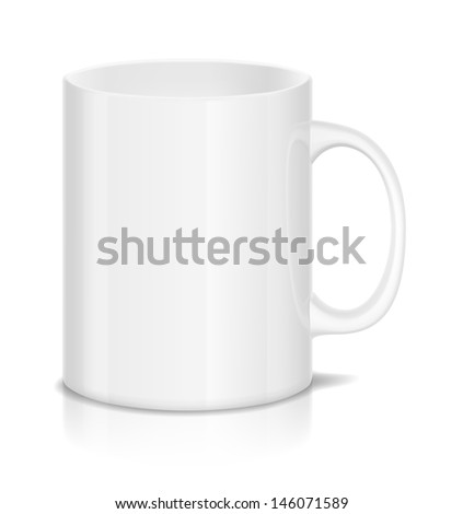 Illustration of white cup isolated on white.  - stock photo