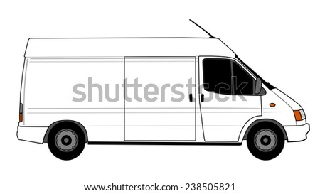 Illustration of white delivery car - stock photo