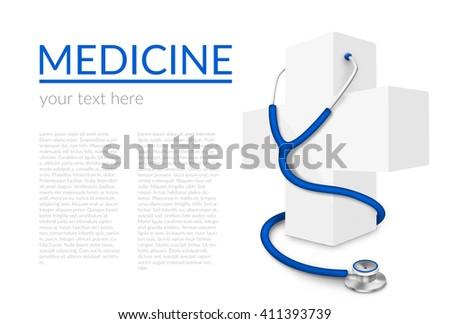 Illustration of white medical cross and stethoscope isolated on white background - stock photo