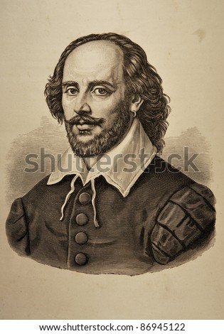 """Illustration of William Shakespeare taken from the """"Dramatic Works by William Shakespeare"""" (Russian Translation) issued in Moscow, Russia in 1880. - stock photo"""