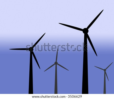 Illustration of wind generators on graduated blue background