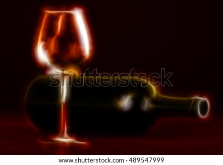 Illustration of wine bottle and empty glass