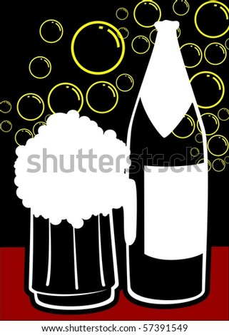 Illustration of wine bottle and glass with bubble background