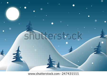 Illustration of winter mountains with moon and snow
