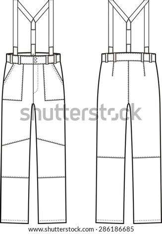 Illustration of winter work pants with braces. Front and back views. Raster version - stock photo