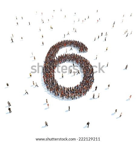 illustration of 6 with people - stock photo