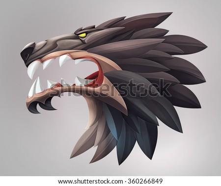 Illustration of wolf head ui icon - stock photo