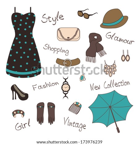 Illustration of woman` s  accessories such as jewelry, bag - stock photo