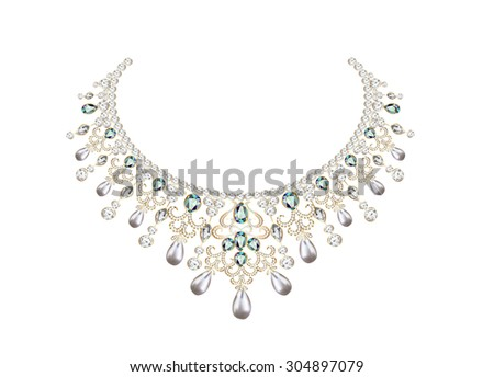 illustration of woman's necklace with pearls and precious stones - stock photo