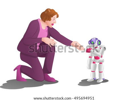 illustration of woman try to hand shake with a droid robot on isolated white background